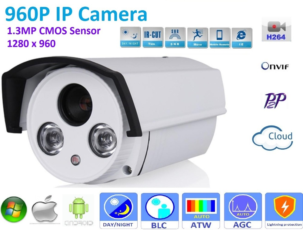 New type1280*960P H.264 1.3 Megapixel HD ONVIF IP Camera P2P Warterproof outdoor IR-CUT Night Vision Network bullet Camera new type1280 720p h 264 1 0 megapixel hd onvif ip camera p2p indoor 24pcs ir leds ir cut night vision network dome camera