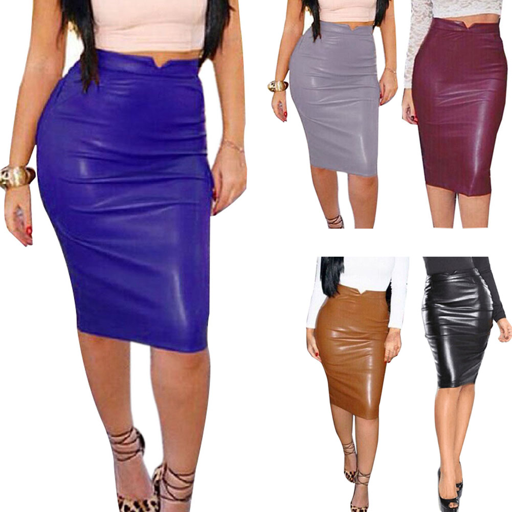 2018 New Sexy Women PU Leather Middle Length Pencil Skirt Bodycon Winter Autumn Warm Skirts FS99