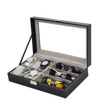 Sunglasses Display Box Watch Eyeglasses Storage Organizer with Clear Glass Lid Decent Organization High Quality