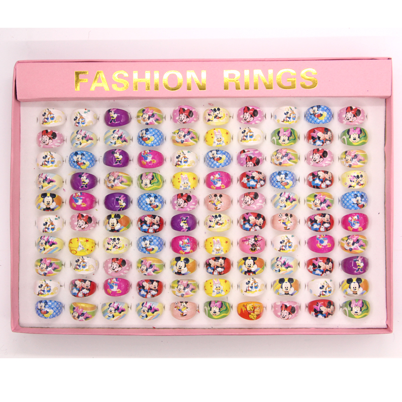 Wholesale Accessories 100pcs Lovely Mix Elsa Olaf Anna Jewelry Cartoon Girls Children anneau Kids Acrylic Rings With Display Box