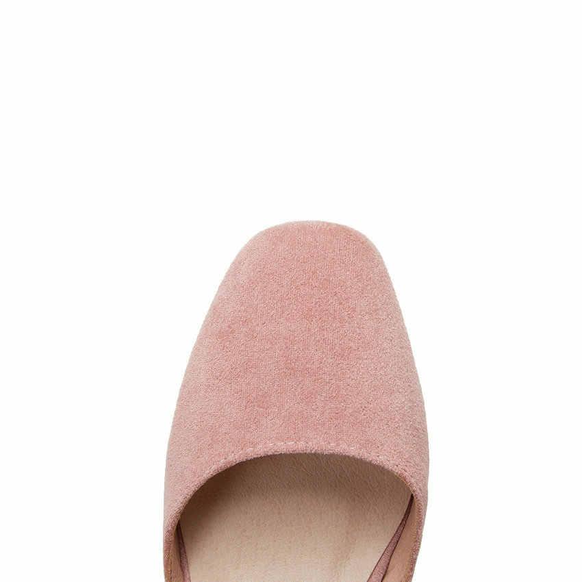 QUTAA 2020 kadın sandalet iki parçalı yuvarlak ayak boş imitasyon toka orta topuk bahar yaz tatlı bayanlar ayakkabı boyutu 34- 43