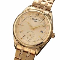 Watches Men CHENXI Brand Calendar Gold Quartz Clock Luxury Hot Selling Wristwatch Golden Male Rhinestone Watch