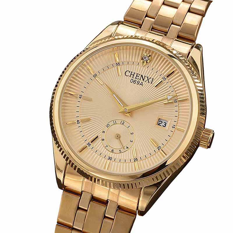 Watches Men CHENXI Brand Calendar Gold Quartz Clock Luxury Hot Selling Wristwatch Golden Male Rhinestone Watch