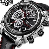 Relojes LIGE Новый Для мужчин модные часы Повседневное Топ Кожа Элитный бренд Для мужчин наручные часы Автоматические Дата Спорт Водонепроницае