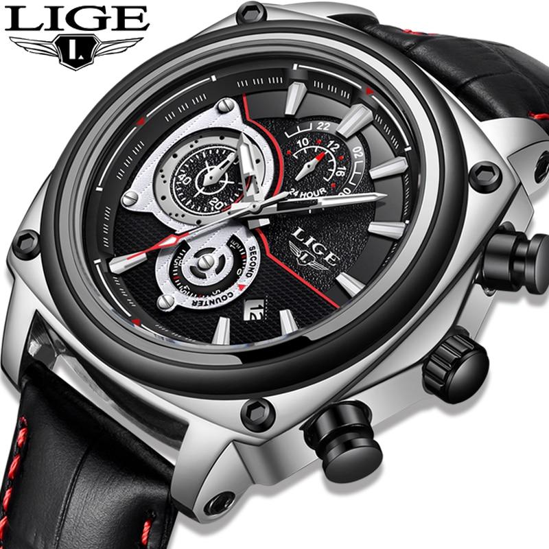 Relojes LIGE New Men's Watch Fashion Casual Top Leather Luxury Brand Men Wrist Watch Automatic Date Sport Waterproof Chronograph цена