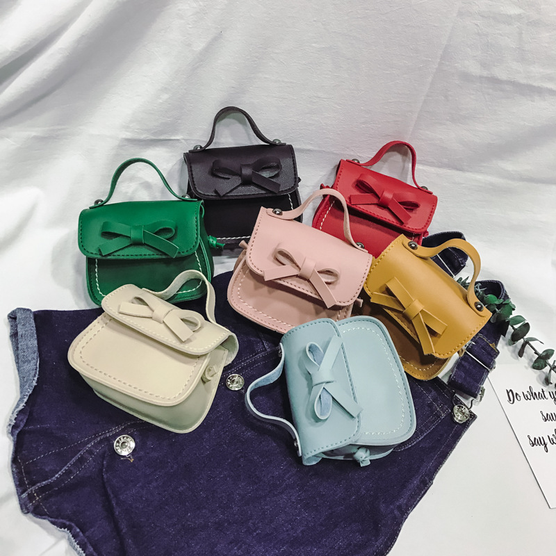 New Fashion Children's Coin Purse PU Leather Cute Mini Sweet Bow Handbag Lovely Crossbody Shoulder Bag Wallet for Girls(China)