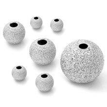 20 pçs 4 5 6 7 8 10mm aço inoxidável maçante polonês espaçador grânulos de semente redonda cor prata para colar pulseira jóias fazendo