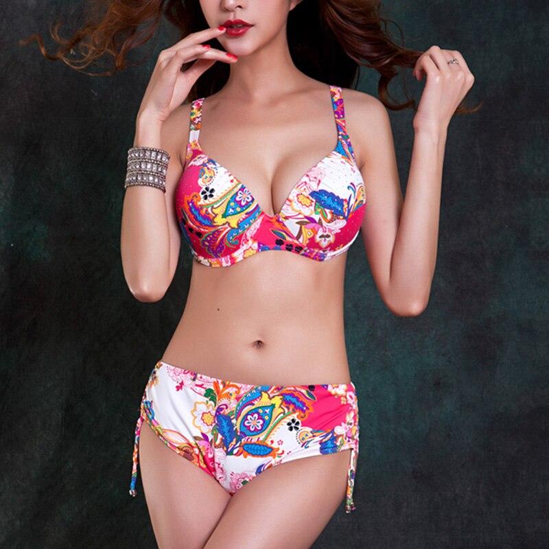 Foclassy Swimsuit Bikini 2017 Plus Size thong sets Swimwear Women 39 s swimming suit Bandeau Bather Bathingsuit Beach Wear in Bikinis Set from Sports amp Entertainment