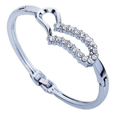 Bluelans Womens Love Heart Shiny Crystal Rhinestone Bangles Silver Plated Bracelet Jewelry