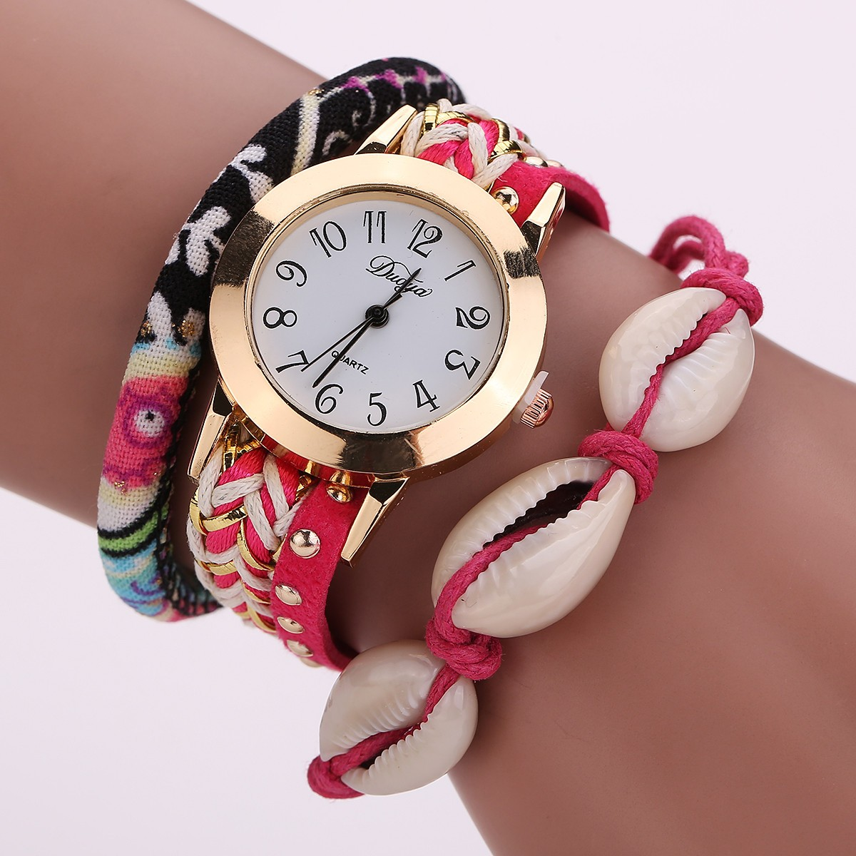 DUOYA New Womens Leopard Wrap Braided Faux Leather Analog Quartz Bracelet Wrist Watch kol saati horloge relojes relogio Uhren