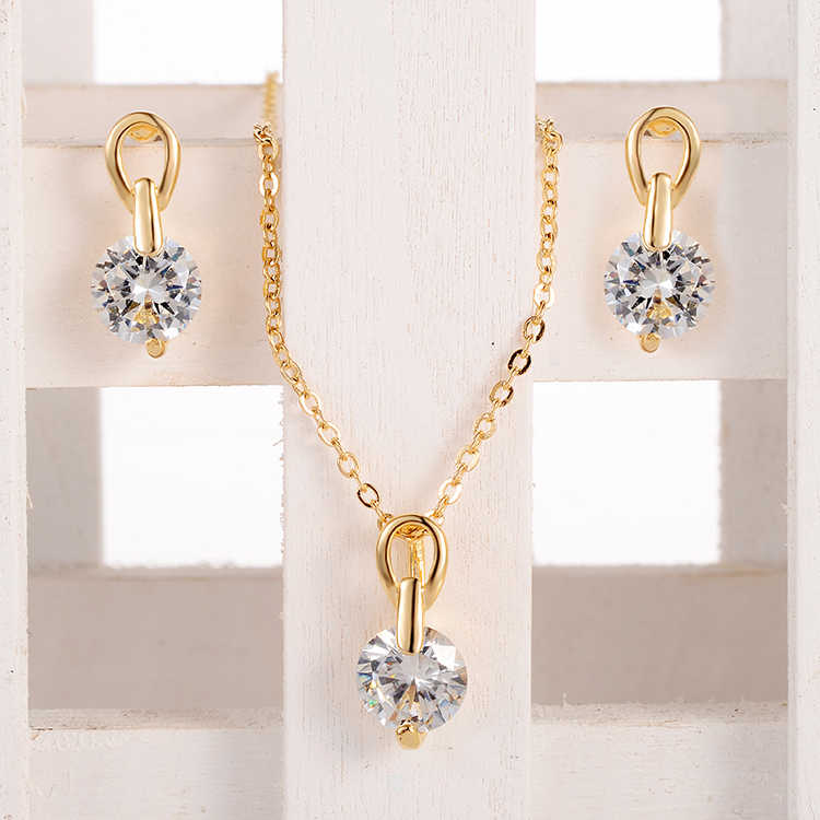 Fashion Accessories Gold White Clear Austrian Crystal Necklace 2 Claws Earrings Necklace Jewelry Set For Women Wholesale Jewelry