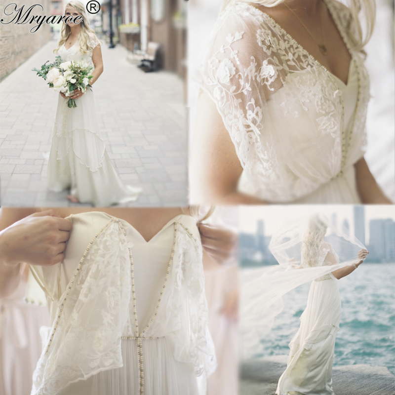 Mryarce Unique Style Bohemian Chic Vintage Wedding Dresses Lace Beading Flowing Beach Wedding Dress Boho Bridal