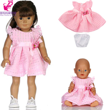 18 doll pink dress Short Pant fit 43cm Baby Born Zapf Doll Clothes and 18 inch