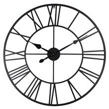 Vintage 80cm Wall Clock Vintage Wrought Metal Industrial Iron Rome Art Clock Watch Saat Classic Digital