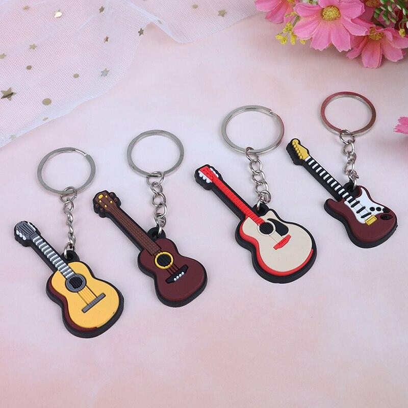 NEW 2Pcs Soft Silicone Instrument Keychain Folk Electric Classical Guitar Ukulele Key Ring