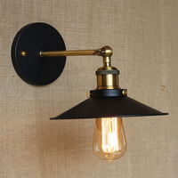 Retro American Pastoral Style Contracted For Bathroom Bedside Bedroom Foyer Black Color Lighting Wall Lights Lamps