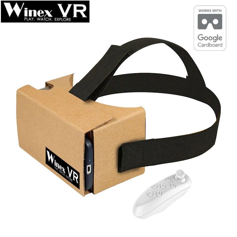 2017 CALIENTE!!! winex vr realidad virtual gafas 3d google caja de cartón vr vr