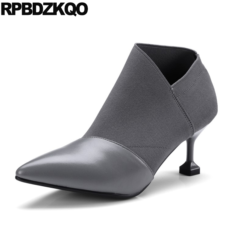 Designer Shoes Women Luxury 2017 Booties Grey Stiletto Patchwork Fall Strange Boots Real Leather High Heel Ankle Slip On Pointed strange heel women ankle boots genuine leather elastic booties wedge shoes woman high heels slip on women platform pumps