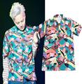 Voilier Pattern Button Up Short Sleeve Aloha Shirt 2017 Unisex Kpop Designer Slim Fit Beach Shirts