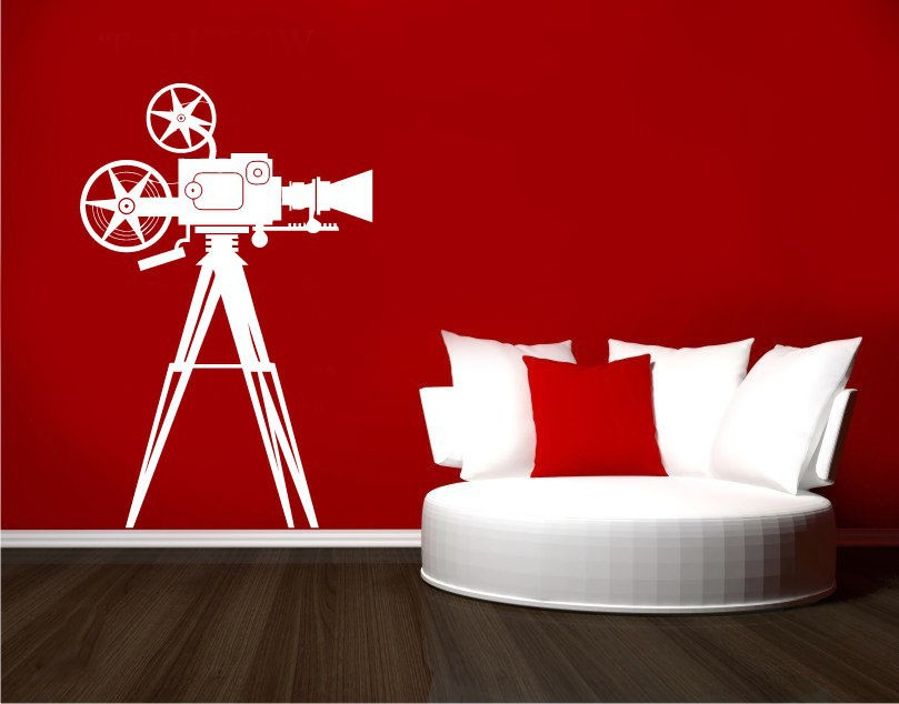 Photo camera studio video film cinema mural art removable - Stickers cinema mural ...