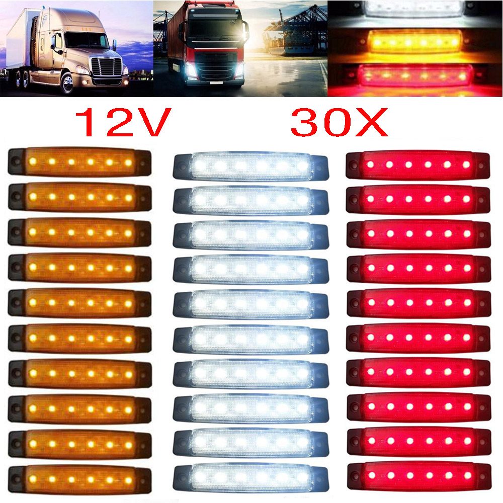30pcs 12/24V 6 LED Red+White+Yellow Truck Trailer Pickup Side Marker Indicators Light