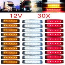 цена на 30pcs 12/24V 6 LED Red+White+Yellow Truck Trailer Pickup Side Marker Indicators Light