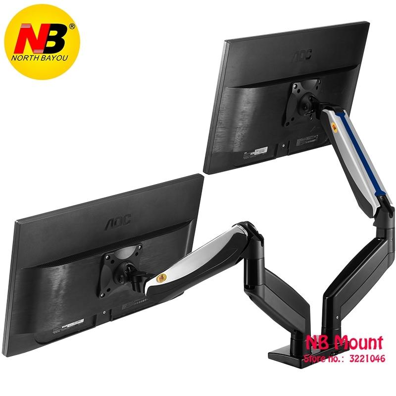 Alliage d'aluminium 22-27 pouces double LCD moniteur LED bras à ressort à gaz support de moniteur de mouvement complet avec 2 Ports USB