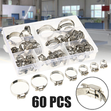 60pcs/lot 8-38mm Stainless Steel Hose Clamp Screw Worm Drive Hose Clamps Hose Hoop Pipe Clip Mayitr 60pcs adjustable 8 38mm range stainless steel fuel line pipe worm gear drive hose hoop pipes clamps assortment kit spring clip