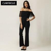 Women Jumpsuit Brand Clarisbelle Combinaison Femmen Fashion 2017 Hollow Out Backless Sexy Bodysuit For Women DR048