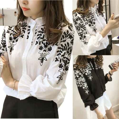 Luxury Women Long Sleeve Embroidered Printed Flower   Blouse   Top Holiday Summmer White   Shirt