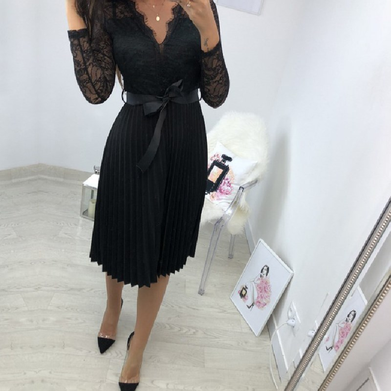 BEFORW Sexy VNeck Women Lace Dress Casual Party Pleated Chiffon Dresses 2019 Elegant Fresh Black Ribbon Hollow Chiffon Midi Dres 4