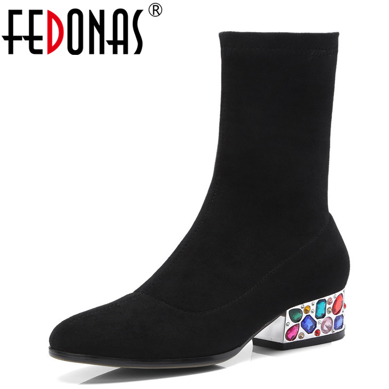 FEDONAS Top Quality Retro Colorful Rhinestone High Heeled Wedding Party Shoes Woman Sexy Socks Boots Long Warm Autumn Shoes zx 1029 woman s fashionable retro colorful rhinestone inlaid bracelet multicolored
