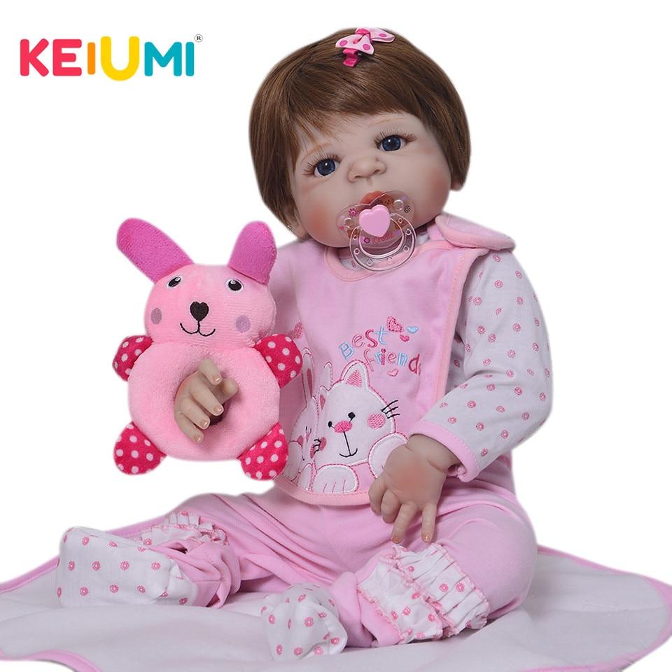 KEIUMI 23 ''Plein Vinyle Silicone Reborn Baby Dolls Lifelike Adorable bebe Ethnique Poupée Reborn Bébé Fille Pour Enfants D'anniversaire cadeaux