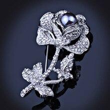 Элегантная Черная Роза В Стиле Модерн Горный Хрусталь Кристалл Брошь Контактный Старинные Имитация Pearl Броши для Женщин