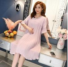 купить Large Size Pleated Maternity Dresses 2019 Fashion New Short Sleeve V-neck Pregnancy Dress Clothes for Pregnant Women QL5305 в интернет-магазине
