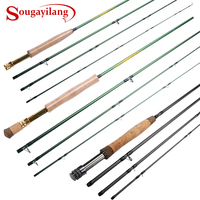 Sougayilang Fly Rod 5/6 7/8FT 4 Sections Fly Fishing Rod Ring Carbon Fiber Rod Medium Fast Action Freshwater Fishing Pole