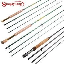 Sougayilang canne à mouche 5/6 7/8FT 4 Sections mouche canne à pêche anneau en Fiber de carbone tige moyenne Action rapide pôle de pêche deau douce