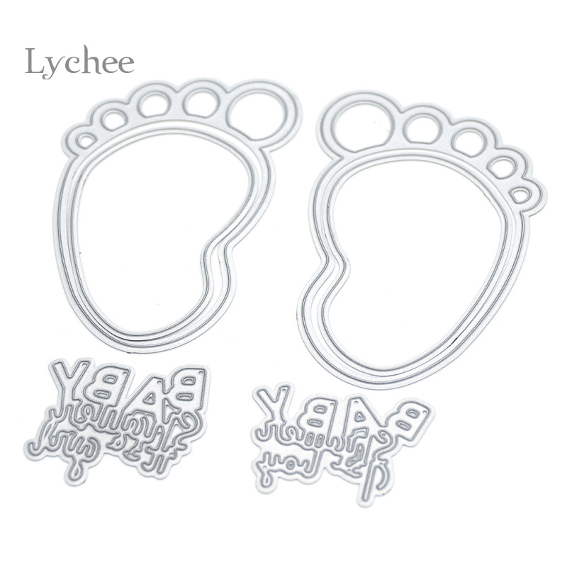 baby footprint letters cutting dies stencils for diy scrapbooking decorative craft photo album embossing folder suit paper cards