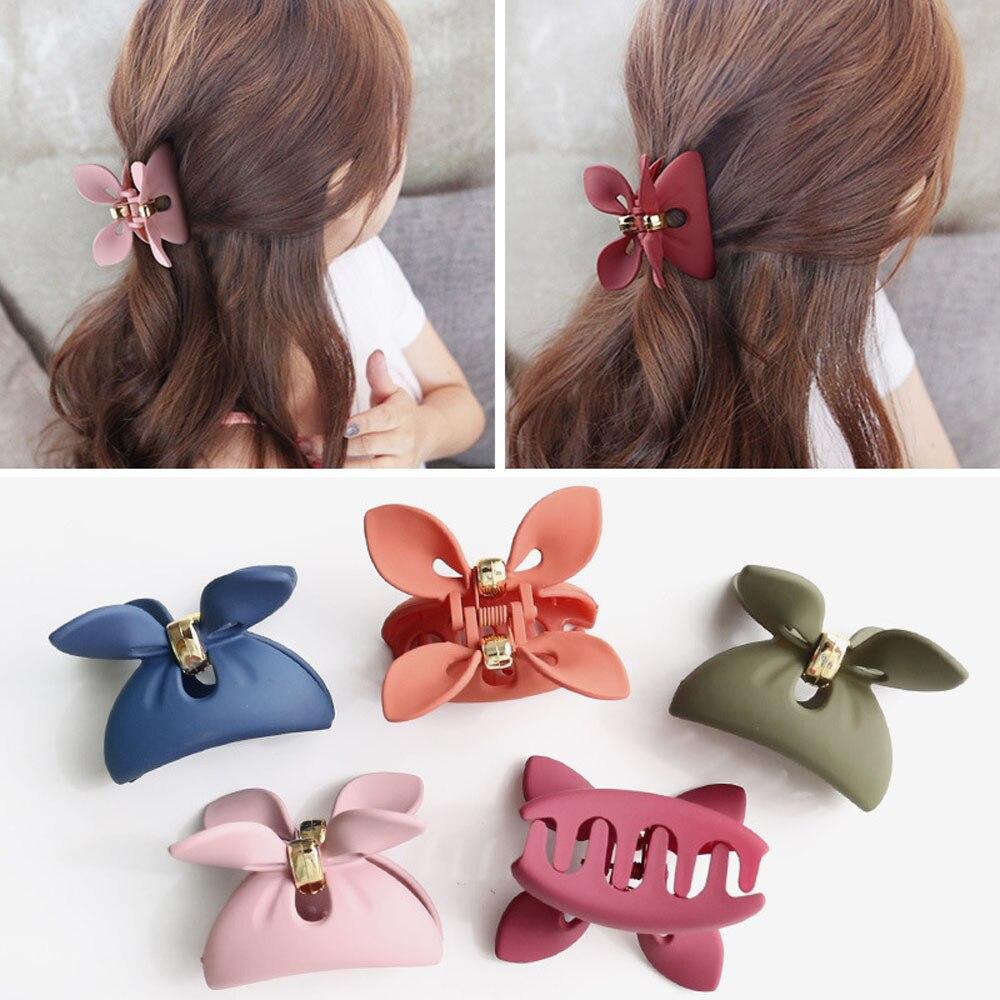 2019 Hair Accessories New Women Girls Casual Rabbit Ears Acrylic Hair Clip Scrub Bowknot Hair Claws