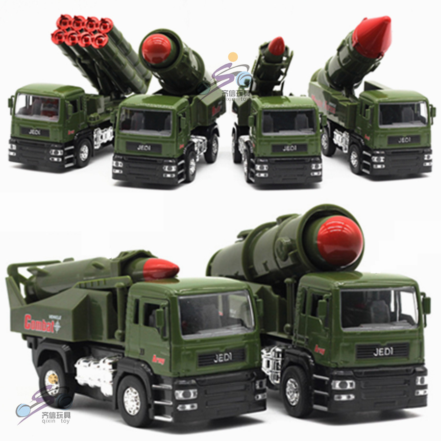 Bulk model rockets wholesale - Children 1 32 Alloy Pull Back Simulation Military Model Toys Boy Rocket Missile Launcher Vehicle