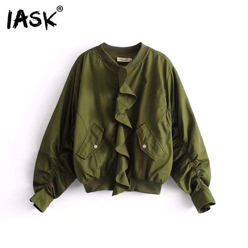 IASK] 2018 New Summer Spring Green Stand Collar Long Sleeve Loose Wild Ruffle Loose Short Pattern Jacket Women QC21106L