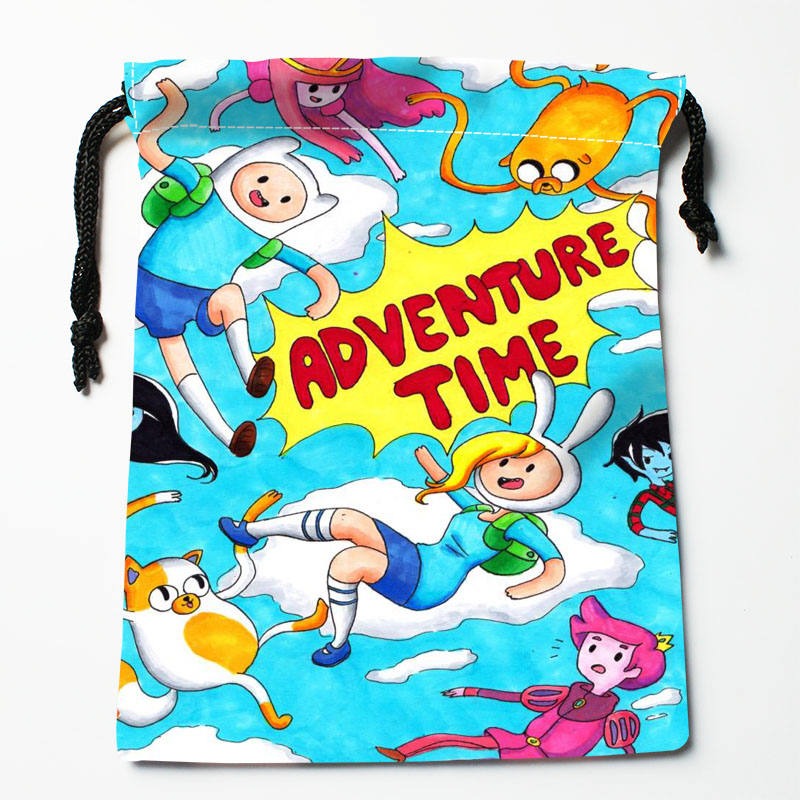 High Quality Custom Adventure Time Printing Storage Bag Drawstring Bag Gift Satin Bags 27x35cm Compression Type Bags