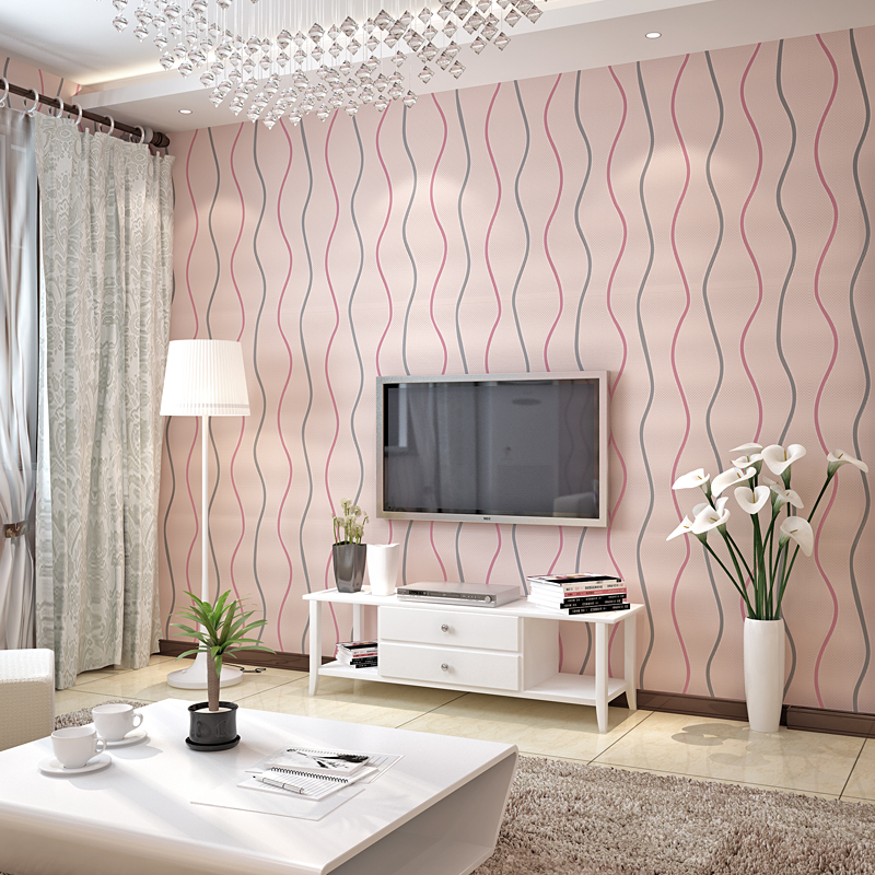beibehang papel de parede 3D Wavy striped non woven Wall paper roll Modern Embossed Flocking Wallpaper for Living room TV