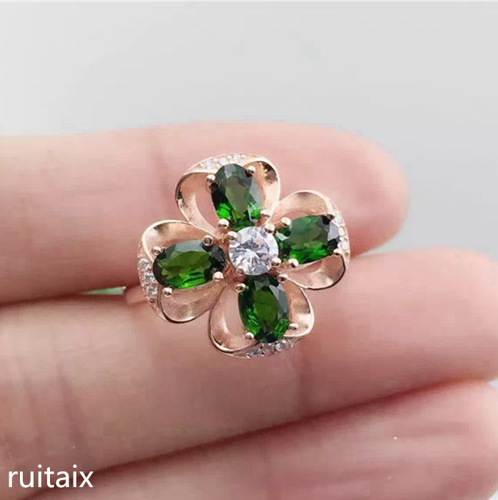 KJJEAXCMY fine jewelry 925 Pure silver natural transparent stone female style ring inlay jewelry colored gemstone four-leaf grasKJJEAXCMY fine jewelry 925 Pure silver natural transparent stone female style ring inlay jewelry colored gemstone four-leaf gras