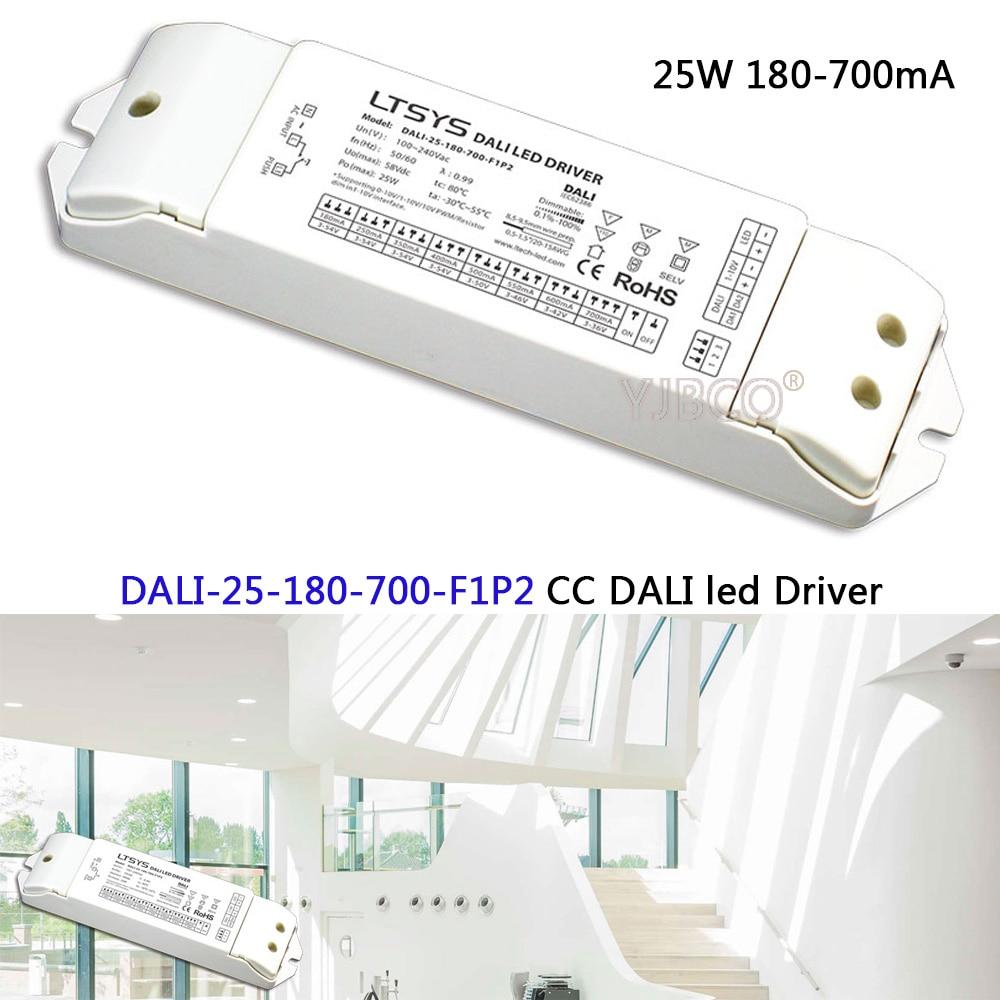 Constant Current led Dimming Driver;DALI-25-180-700-F1P2;AC100-240V input; 25W 180-700mA CC DALI Driver(1-10V) power 10w 350 700ma cc dali led driver dali 10 350 700 f1p1 ac100 240v input dc3 24v output cc dali led dimming driver