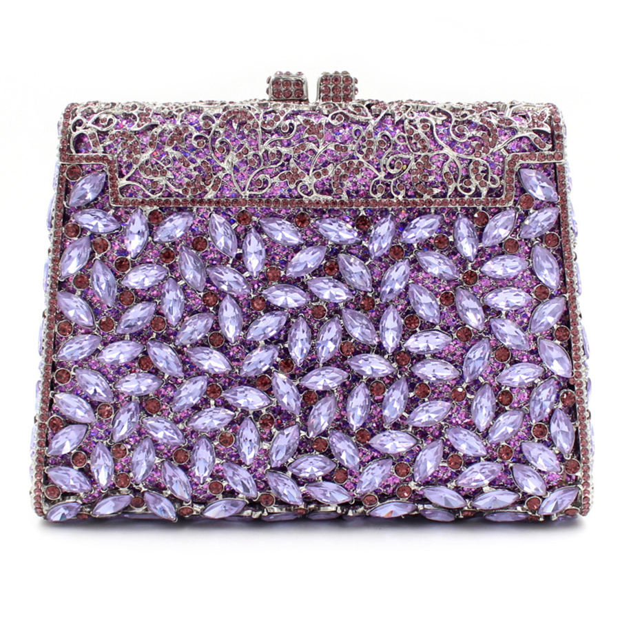 Фото 2017 luxurious women evening bags purple crystal full diamonds dinner bag ladies single shoulder handbag bride dress bag purses