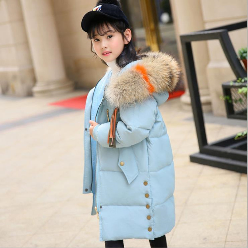 2018 High Quality Girls Long Thick Duck Down Jacket Winter Girls Real Recoon Fur Collar Coat Clothes Children Girl Outerwear стоимость