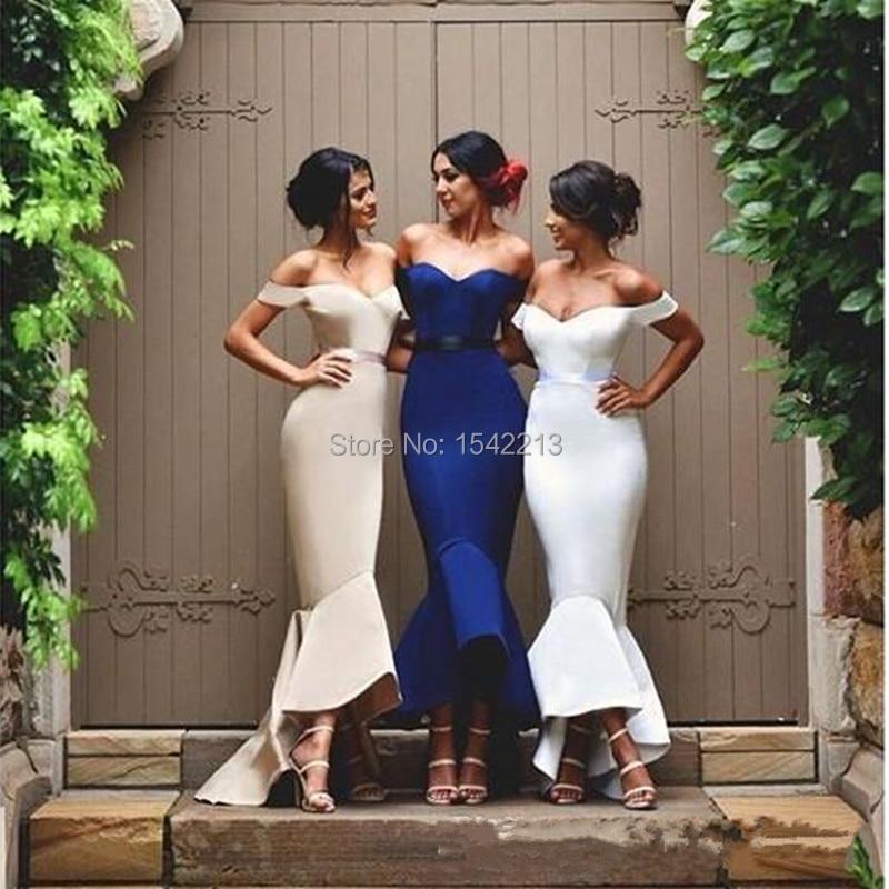 Royal Blue White Champagne Mermaid Bridesmaid Dress V neckline Short ...