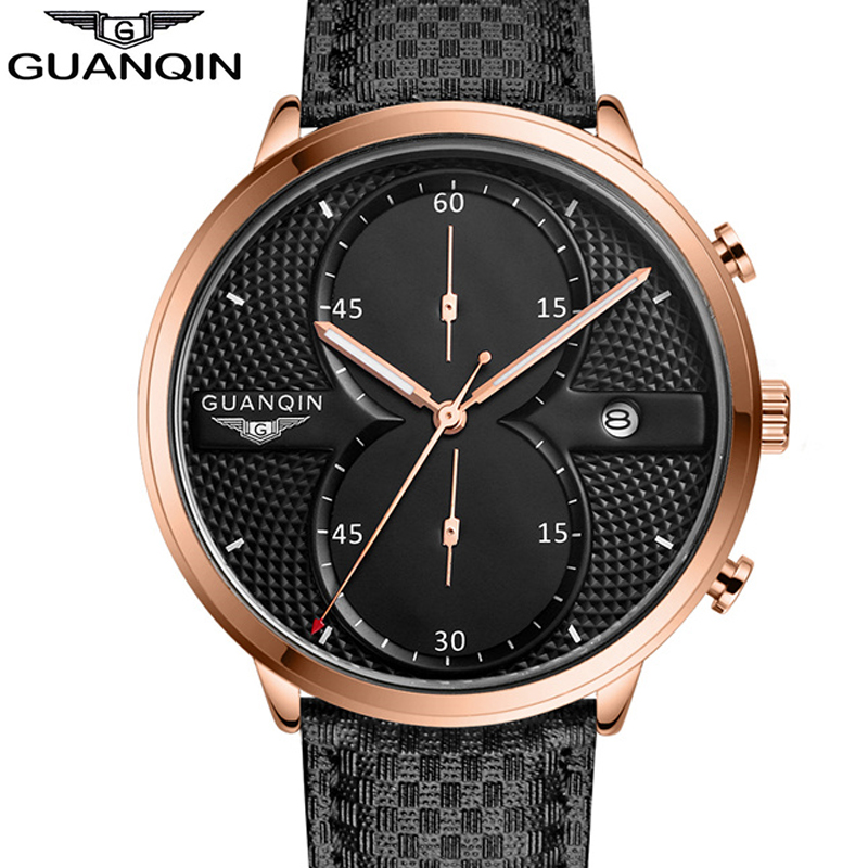 ФОТО GUANQIN Quartz Wrist Watch Men Mens Watches Top Brand Luxury Waterproof Chronograph Sport Watch Man Date Leather Male Clock  A