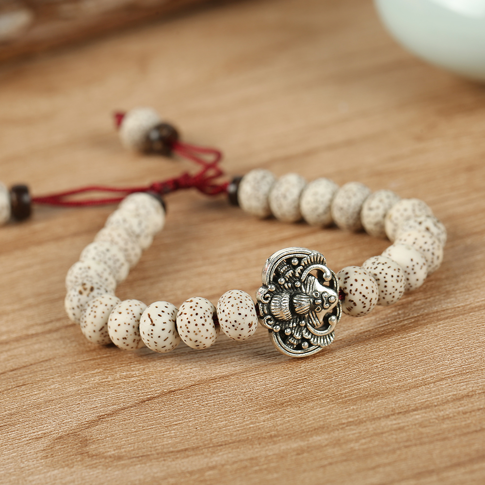 Handmade Tibetan Buddhism Bodhi Seed Mala Beads Vintage Bat Amulet Charm Men Women Adjustable Bracelet 1311